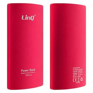 10 000mAh PowerBank, 2A USB 2-in-1 Lightning / Micro USB Kabel LinQ - Rot