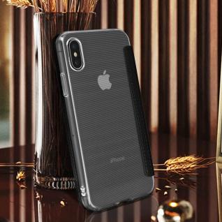 Spiegel Hülle, dünne Klapphülle für Apple iPhone X , Apple iPhone XS - Schwarz - Vorschau 4