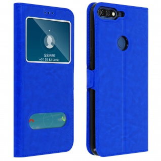 Doppelfenster Flip Cover Honor 7A / Huawei Y6 2018 mit Standfunktion - Blau