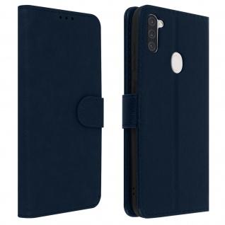 Flip Cover Geldbörse, Klappetui Kunstleder für Galaxy A11 ? Blau