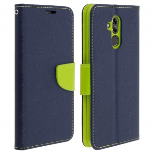 Fancy Style Cover Huawei Mate 20 Lite, Kartenfach & Standfunktion - Dunkelblau