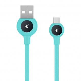 USB-C / USB Nylon Kabel, Lade- & Synchronisationskabel, 2A - Blau