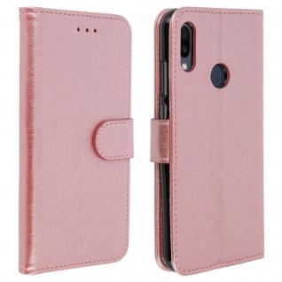 Flip Cover Geldbörse, Klappetui Kunstleder für Samsung Galaxy M20 - Rosegold