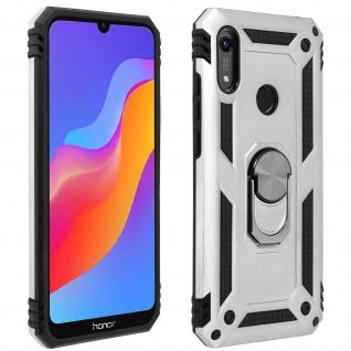 Hybrid Handyhülle mit Ring Halterung für Huawei Y6 2019 - Silber