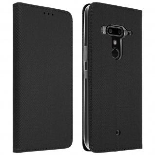 HTC U12 Plus Flip Cover mit Kartenschlitz & Standfunktion - Schwarz