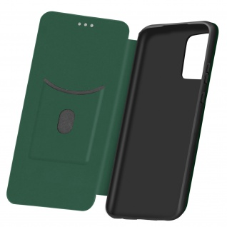 Samsung Galaxy A72 Klappetui, Cover mit Carbon Design & Ständer - Dunkelgrün