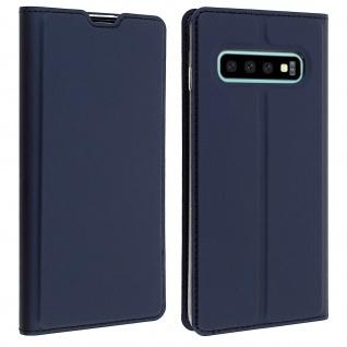 Flip Cover, Klappetui mit Kartenfach & Standfunktion Galaxy S10 Plus Dunkelblau