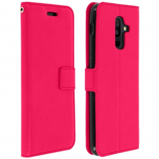 Flip Cover Stand Case Brieftasche & Standfunktion Galaxy A6 Plus - Fuchsienrot