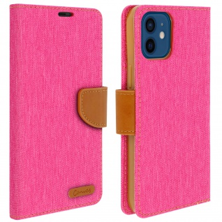 Canvas Stoffhülle für Apple iPhone 12 Mini, Etui mit Standfunktion - Rosa