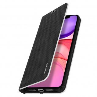 Apple iPhone 11 Klappetui, Cover mit Carbon Design & Ständer ? Schwarz - Vorschau 2