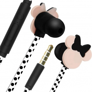 Disney in-ear Kopfhörer mit Fernbedienung, Minnie Maus 3D Design - Schwarz/Rosa