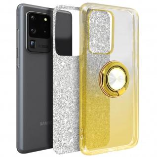 Glitter Silikonhülle mit Ring Halterung für Samsung Galaxy S20 Ultra - Gold