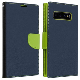 Fancy Style Cover Samsung Galaxy S10, Fach und Standfunktion - Dunkelblau