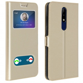 Nokia 5.1 Plus Flip Cover Doppelfenster & Standfunktion - Gold
