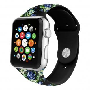 Apple Watch 42 / 44mm Armbanduhr, Kunstleder Armband mit Blumen ? Schwarz/ Blau