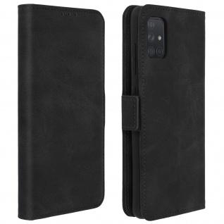 Klapphülle mit Kartenfächer / Standfunktion für Samsung Galaxy A51 - Schwarz