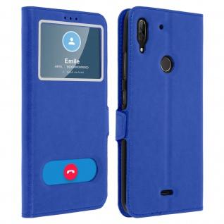 Wiko View 2 Plus Flip Cover mit Doppelfenster & Standfunktion - Blau