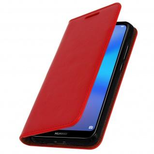 Huawei P20 Lite Flip-Cover aus Echtleder im Brieftaschenstil - Rot