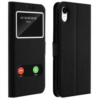 Apple iPhone XR Flip Cover mit Doppelfenster & Standfunktion - Schwarz