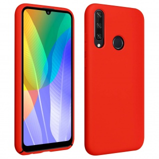 Halbsteife Silikon Handyhülle Huawei Y6p, Soft Touch - Rot