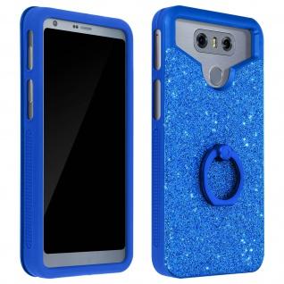 Glitter Handyhülle mit Ring Halterung für 4.7 - 5.0 Zoll Smartphones - Blau