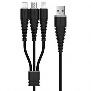 Fish-Bone Ladekabel 3x Anschlüsse (iPhone/iPad, Micro-USB, USB Typ C) -Devia