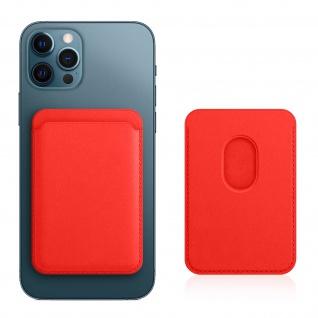 Magsafe iPhone 12 Kartenetui aus Leder, magnetische Befestigung ? Rot