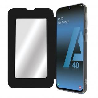 Spiegel Hülle, dünne Klapphülle für Samsung Galaxy A40 - Schwarz