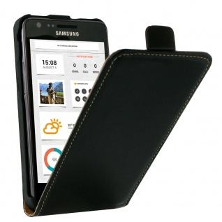 Vertikale Flip-Schutzhülle ultradünn für Samsung Galaxy S2 - Schwarz