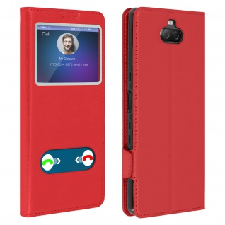 Sony Xperia 10 Flip Cover Doppelfenster & Standfunktion - Rot