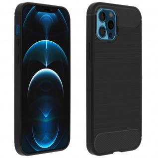 Apple iPhone 12 Pro Max Schutzhülle mit Aluminium und Carbon Design ? Schwarz
