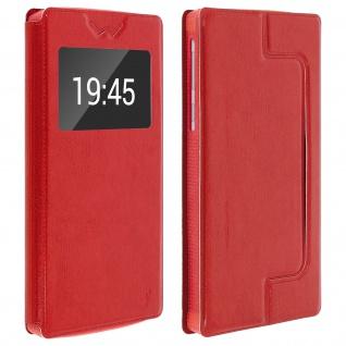 Universal Klappetui, Hülle mit Sichtfenster für Smartphones Größe XXL - Rot