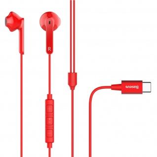 Baseus USB-C in-ear Kopfhörer mit Fernbedienung und Mikrofon - Rot