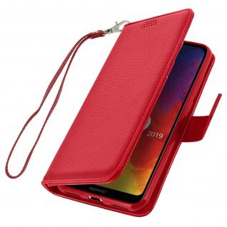 Huawei Y6 2019 Flip-Cover mit Kartenfächern & Standfunktion ? Rot - Vorschau 2