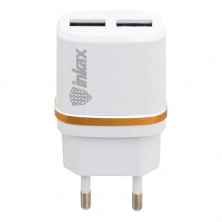 Netzteil mit 2x USB-Anschlüssen, 2.1A / 1.0A, Inkax â€? Weiß