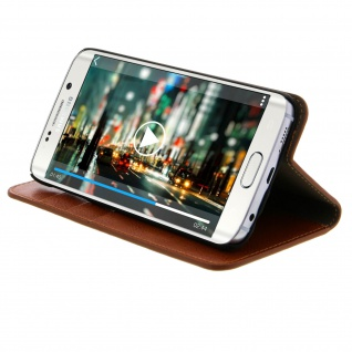 Galaxy S6 Edge Flip-Schutzhülle aus Echtleder im Brieftaschenstil - Braun - Vorschau 4