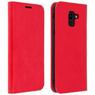 Business Leder Cover, Schutzhülle mit Geldbörse für Galaxy J6 - Rot