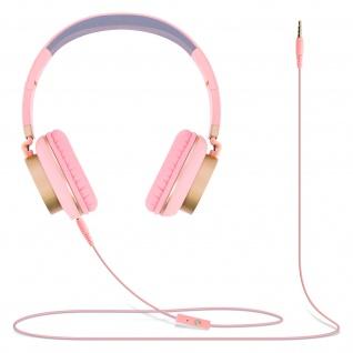 Audio Headset mit 3.5mm Klinkenstecker, GJ18 Kopfhörer - Rosa / Gold