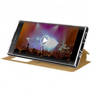 Sony Xperia XA2 Flip Cover Sichtfenster & Kartenfach Gold - Standfunktion - Vorschau 4