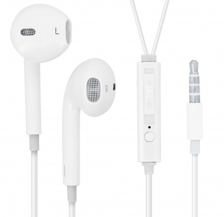 Mocca Design in-ear Kopfhörer + Fernbedienung - Weiß