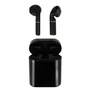 Bluetooth Kopfhörer+Ladecase mit Steuerungstasten und 3 Std Akkulaufzeit-schwarz