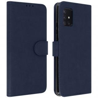 Flip Cover Geldbörse, Etui Kunstleder für Samsung Galaxy A51 5G ? Blau