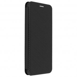 Samsung Galaxy A12 Klappetui, Cover mit Carbon Design & Ständer - Schwarz