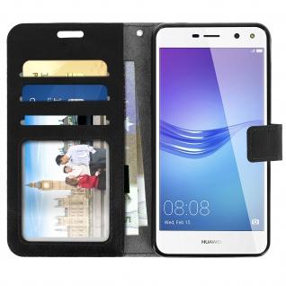 Flip-Cover Stand Case Brieftasche & Standfunktion für Huawei Y6 2017 - Schwarz - Vorschau 3