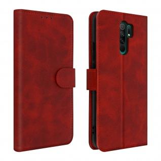 Soft Touch Flip-Cover Geldbörse mit Standfunktion Xiaomi Redmi 9 - Rot