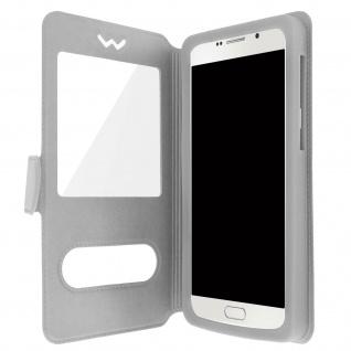 Flip-Schutzhülle Smartphones: max. 127 x 132 x 66mm, 2 Sichtfenster - Silber