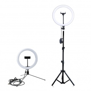 Ringlicht + Ausziehbares Stativ + Mini-Stativ, 4Smarts LoomiPod XL - Schwarz