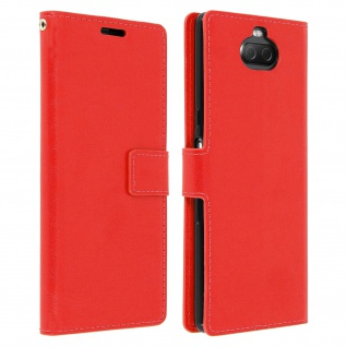 Flip Stand Cover Brieftasche & Standfunktion für Sony Xperia 10 - Rot