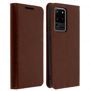 Business Leder Cover, Schutzhülle mit Geldbörse Samsung Galaxy S20 Ultra - Braun