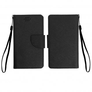 Universal Flip-Schutzhülle Fancy Style für Smartphones max. 142 x 72mm - Schwarz